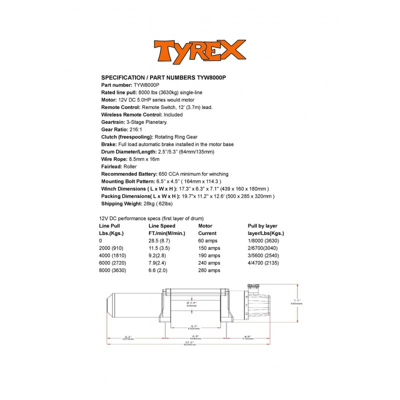 Tyrex 8000P Compact Winch